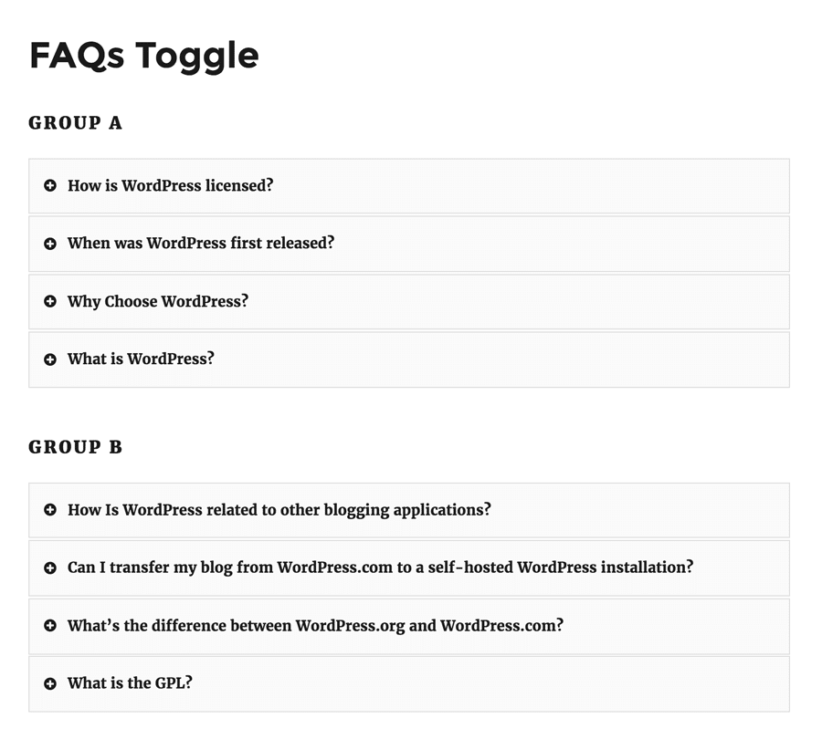 FAQs Toggles Grouped